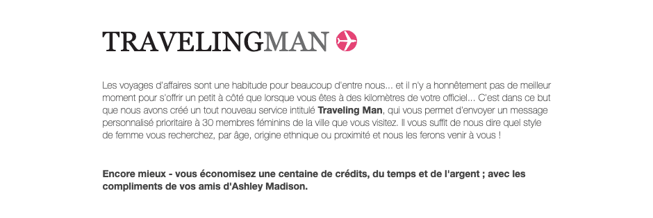 Option traveling man ashleymadison