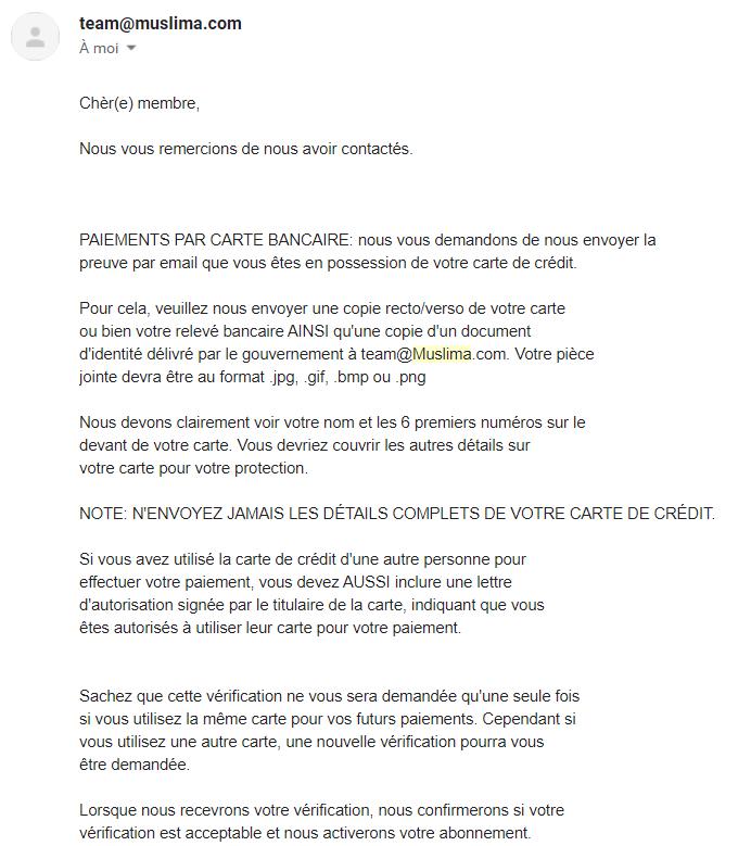 email debloquage profil
