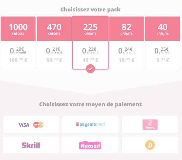 achat pack credits evelive