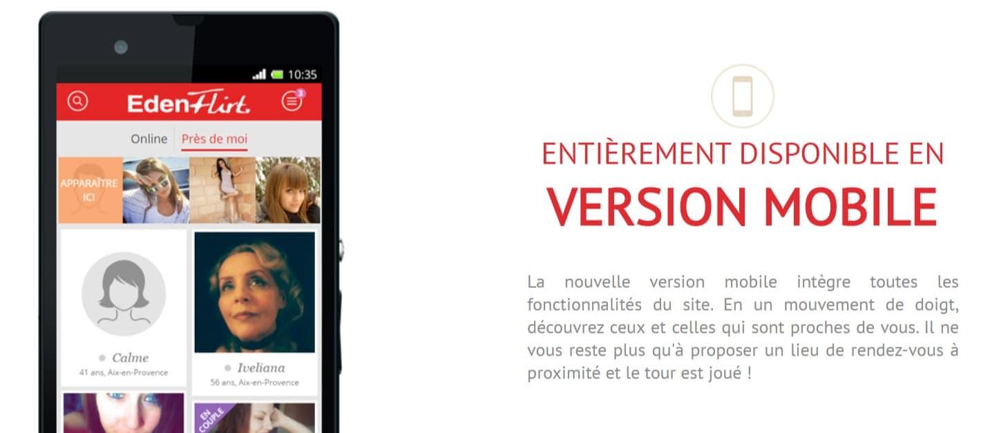 Eden Flirt Application Mobile pour smartphone