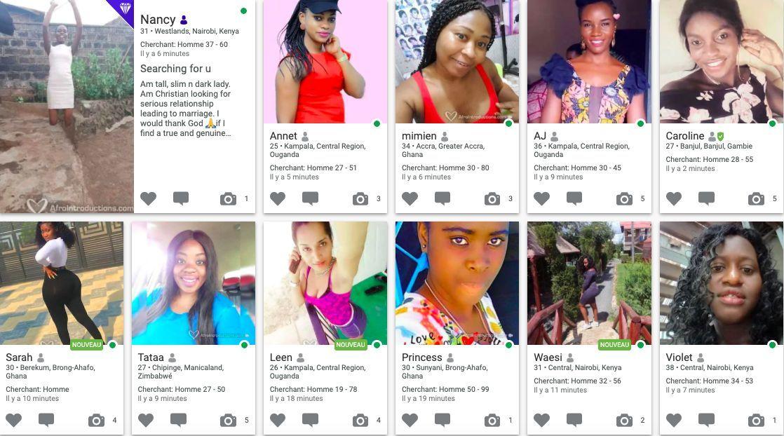 Exemple de femmes célibataire inscrites sur Afrointroductions