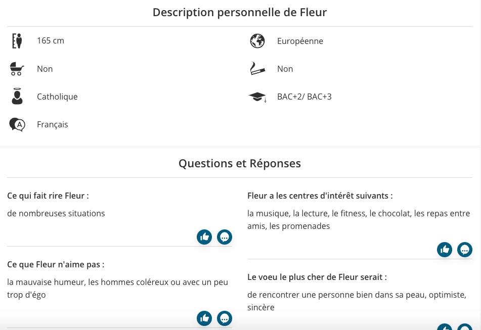 Exemple d'un profil compatible sur eDarling