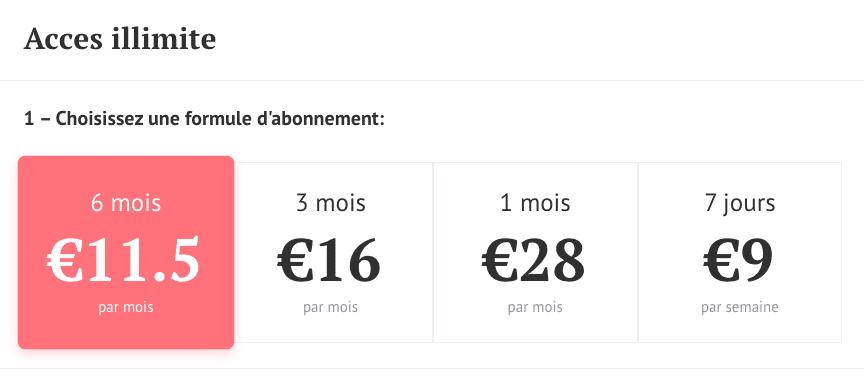 Tarif des abonnements premium sur Café du Net