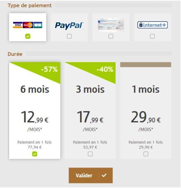 Tarif des abonnements premium sur CelibParis