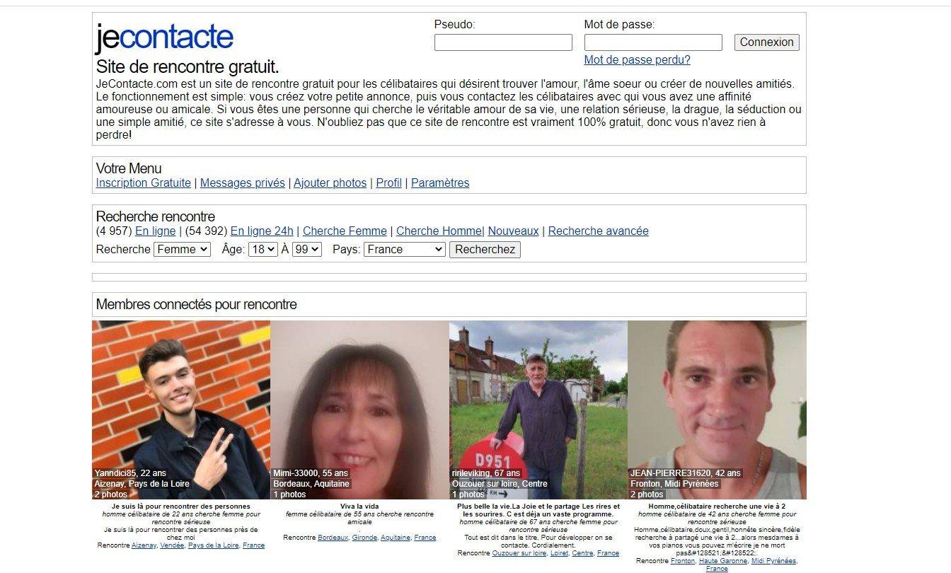 Page d'accueil de Jecontacte, site de rencontre totalement gratuit